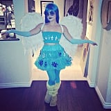 Lucy Hale wore blue lipstick to complete her Twitter bird look in 2014.