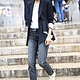 Leandra Medine was the picture of understated chic, juxtaposing a masculine-leaning blazer with sexy wedges.
