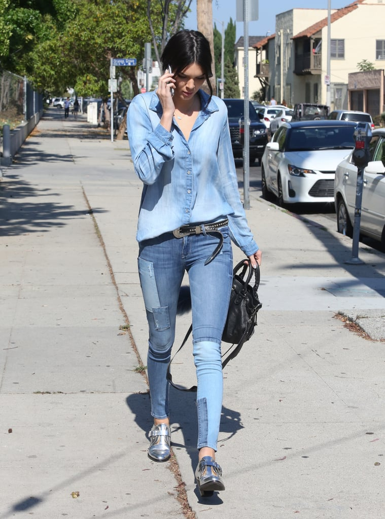 She also finished off her denim look in June with a black studded option.