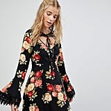 Kiss The Sky Tea Dress In Floral With Tie Neck Detail