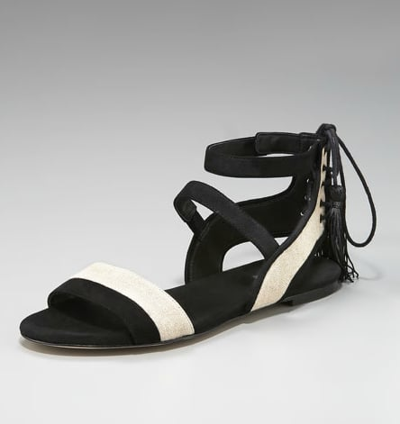 Aside from the chic black-and-white combo, we're kind of obsessed with the sexy laceup detail. Rachel Zoe Gemme Suede and Linen Sandals ($225)