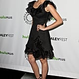 Nina Dobrev stepped out in a ruffled Rachel Zoe Resort 2012 LBD, cool leopard Jimmy Choo gladiator-style sandals, and a Rebecca Minkoff Fling clutch. You can replicate the low-key evening ensemble to a tee — for an extra pop of color, though, opt for a brighter hued clutch instead.