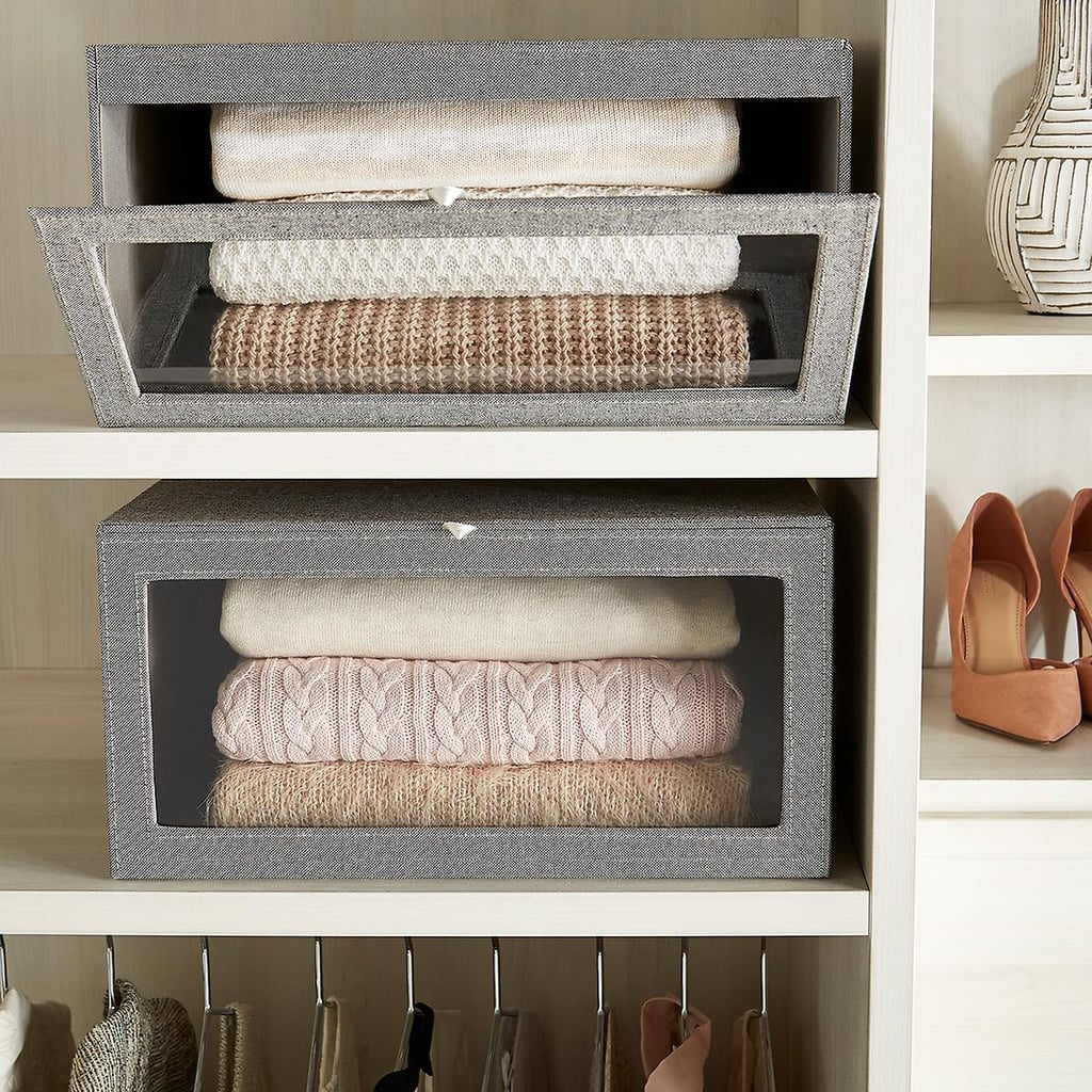 The Perfect Place For Sweaters: The Container Store Grey Drop-Front Sweater Boxes