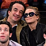 Mary-Kate Olsen and Olivier Sarkozy attended a basketball game in NYC.