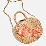 Crab Mini Round Straw Tote Bag