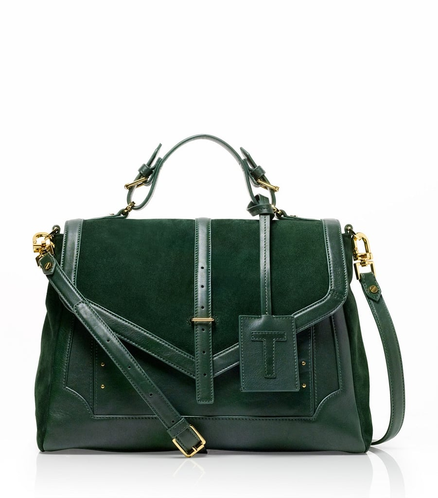 Adopt Fall's brilliant jewel tones on a real tote (read: not your canvas varieties).  Tory Burch Suede And Leather Large 797 Satchel ($625)