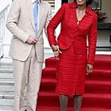 Prince Harry and Prime Minister of Jamaica Portia Simpson-Miller held hands.