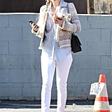 Kate Hudson very stylishly ran errands in LA wearing this printed IRO blazer ($960) with a striped button-down and white Siwy jeans.