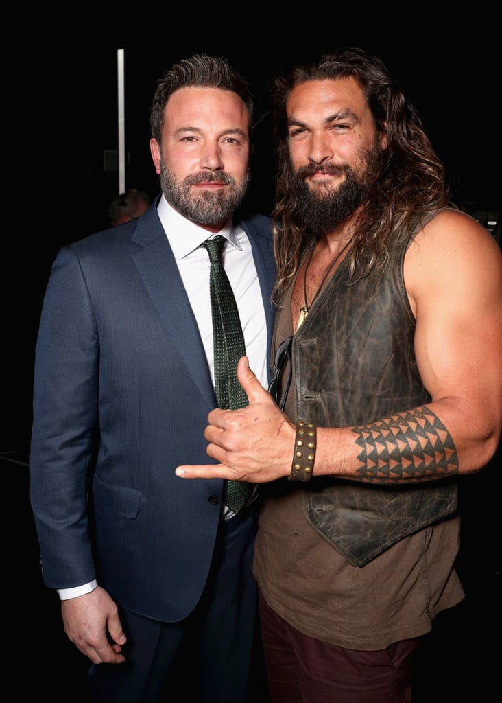 """Fans were in for quite the surprise when Ben Affleck popped up at CinemaCon in Las Vegas on Wednesday. The actor — whose divorce from Jennifer Garner is still up in the air — joined the star-studded Justice League cast, including Jason Momoa and Henry Cavill, in promoting the highly anticipated film. Clad in a blue suit, Ben appeared calm and relaxed as he took the stage and posed for pictures with his costars.   The outing marks Ben's first public appearance since his rehab announcement, though he was spotted cracking up with Jennifer during a family outing over the weekend. Ben recently completed a stint in rehab for """"alcohol addiction,"""" and according to his BFF, Matt Damon, things are on the up and up. While doing press for Suburbicon at the event on Tuesday, Matt said that Ben is feeling """"fantastic"""" since treatment and that he """"couldn't be happier."""""""