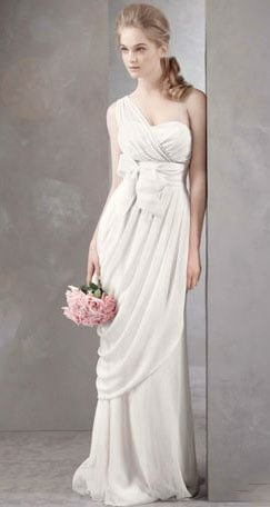 Channel bridal romance with this asymmetrical gown. The silhouette is gorgeous, but the light material keeps it from feeling over the top for even a more low-key nuptial.  White by Vera Wang One Shoulder Gown With Asymmetrically Draped Skirt ($628)