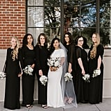 This bridal party meant business in their black floor-length dresses.