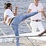 When He Practiced His Karate (?) Moves Aboard a Yacht in St.-Tropez