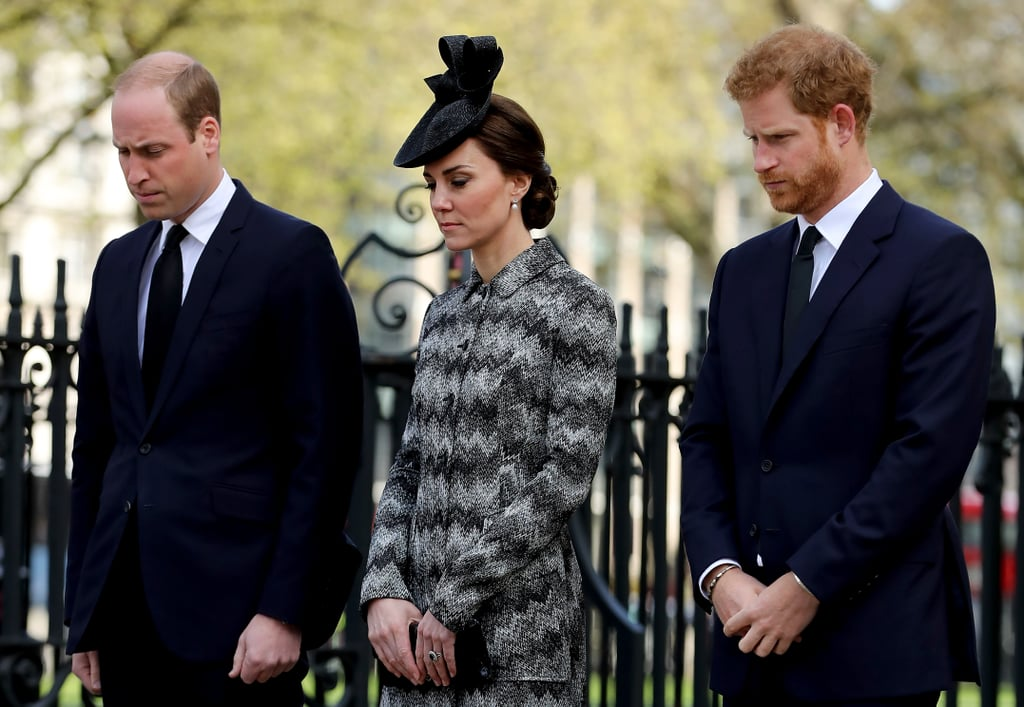 "The Duke and Duchess of Cambridge and Prince Harry have been pretty busy the last few weeks, but the trio dedicated much of their Wednesday to paying their respects to the four people who lost their lives in the tragic terrorist attack in London in late March. Just as William recently did while touring a Remembrance Centre in the UK, he honoured the victims' memories by laying down a floral wreath. The invite-only multifaith service was held at Westminster Abbey, and the royals were joined by the victims' grieving family members, people injured in the attack, emergency service workers, and London Mayor Sadiq Khan. Home Secretary Amber Rudd gave the first reading, and then William took the podium to read a Bible passage.  In the wake of the March 22 attack, members of the royal family have been vocal about their support of the victims. Both William and his father, Prince Charles, visited hospitals to talk to patients and to thank the London Ambulance Service paramedics who got the injured medical attention in time to save their lives. During a Mother's Day appearance at London's Royal College of Obstetricians and Gynecologists, Kate also sent her ""thoughts and prayers to all those sadly affected by yesterday's terrible attack in Westminster."""