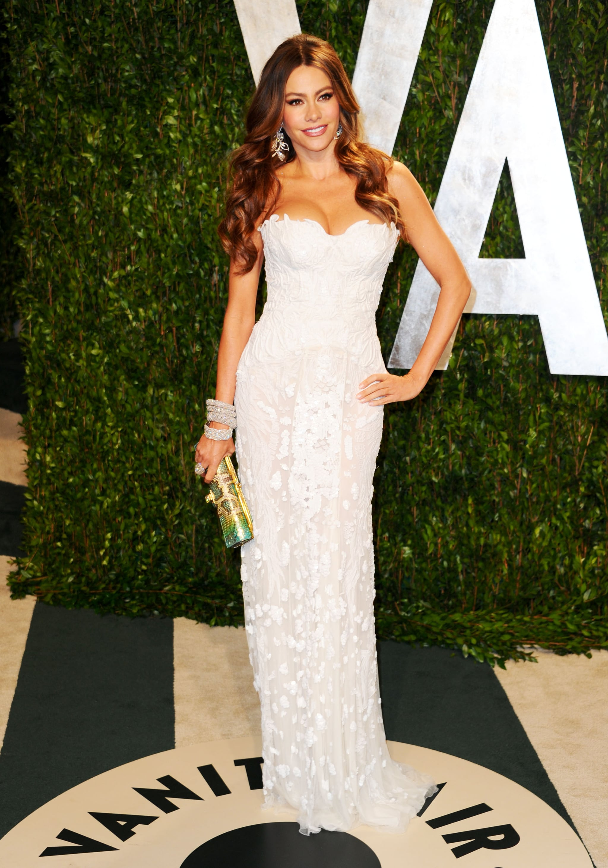 For Vanity Fair's 2012 Oscar party, Sofia stepped out in an ethereal flower-adorned Roberto Cavalli column gown. She accessorized her breathtaking gown with sparkling geometric earrings, a bevy of diamond bangles, and a python clutch for a pop of color.