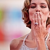 The festival's host Vittoria Puccini blows a kiss at The Ides of March premiere.
