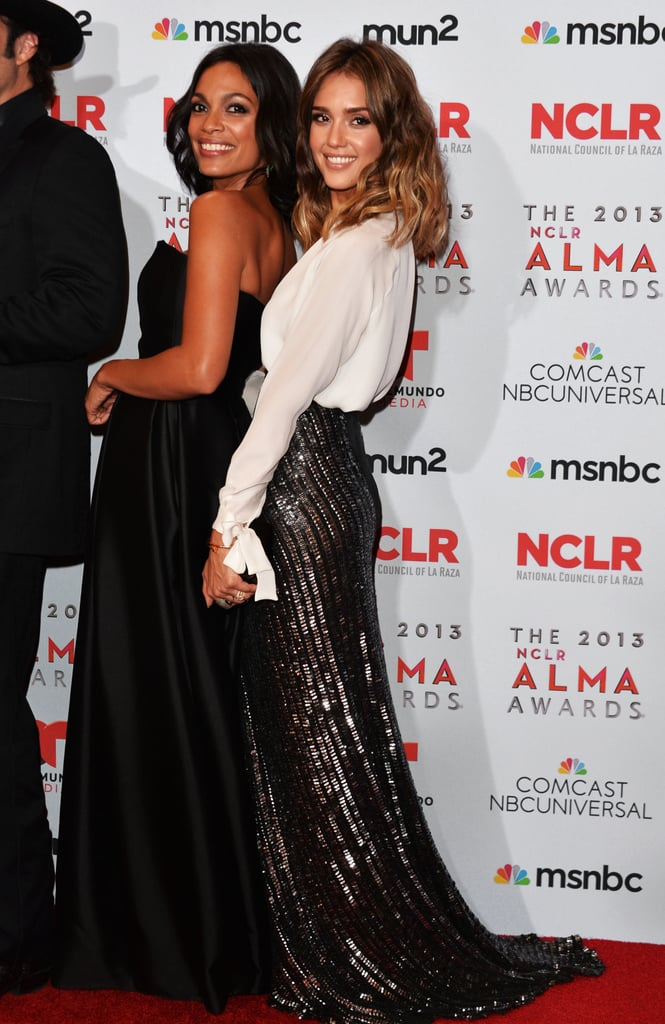 Jessica Alba and Rosario Dawson posed together for pictures on the red carpet.