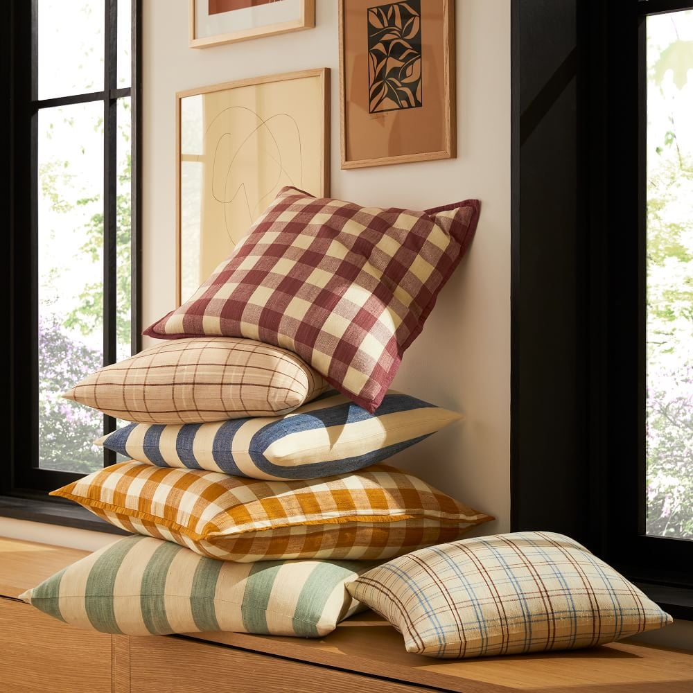 Heather Taylor Home Gingham Silk Flange Pillow Cover