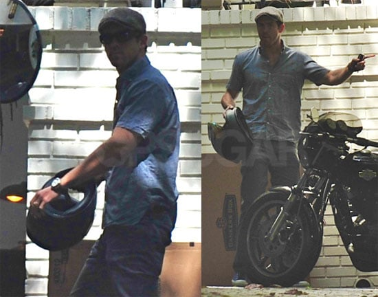 Photos of Ryan Reynolds Near His Motorcycle in LA