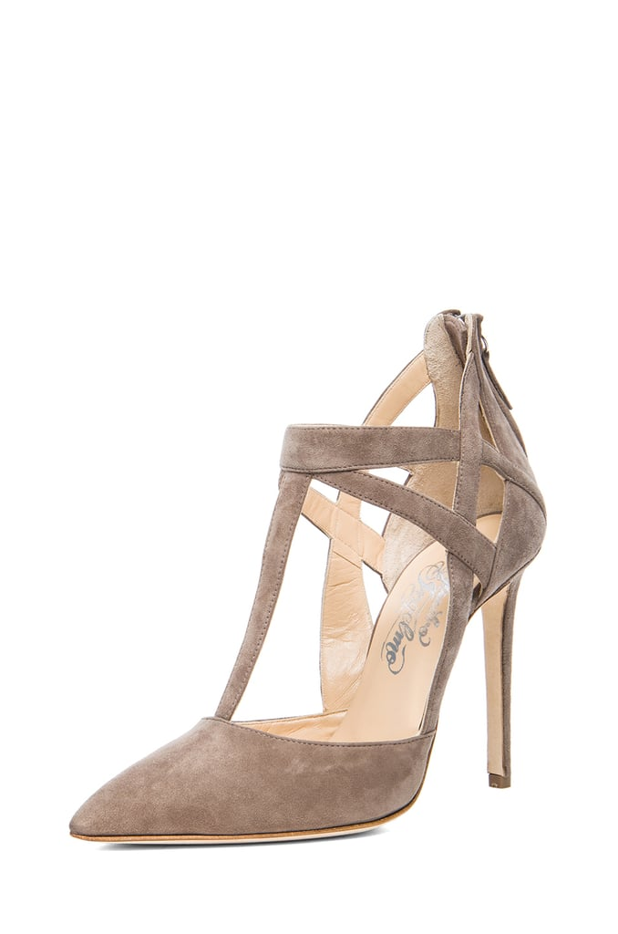 Alejandro Ingelmo Tara taupe suede t-strap heels ($495, originally $825)