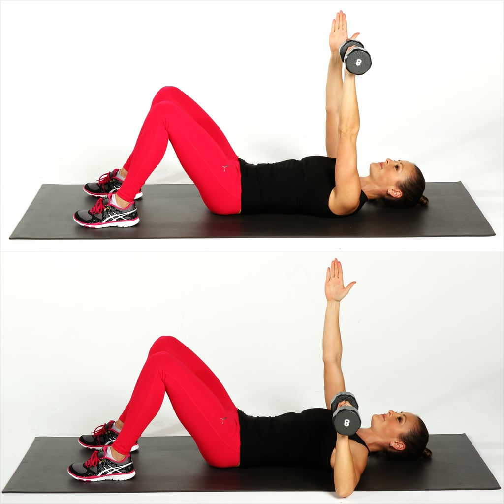 Single arm chest press chest exercises popsugar for Floor workout