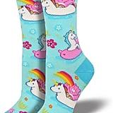 Cheer Bear Unicorn Float Socks Blue