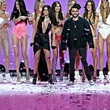 Candice Swanepoel, Adriana Lima, Behati Prinsloo, Lily Aldridge, Romee Strijd, Alessandra Ambrosio, Kate Grigorieva, Selena Gomez, and The Weeknd