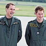 William and Harry attended a photo-call during military helicopter training in June 2009.