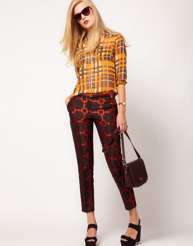 These rich-feeling red brocade trousers look especially chic dressed down with a relaxed button-down, just like so. ASOS Premium Crop Trousers ($69)