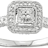 Sterling Silver Diamond Accent Square Halo Ring