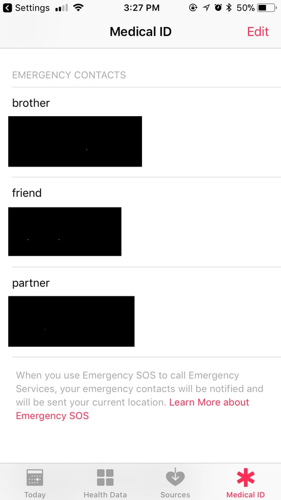 In the Health app, you'll see your Medical ID information and emergency contacts.