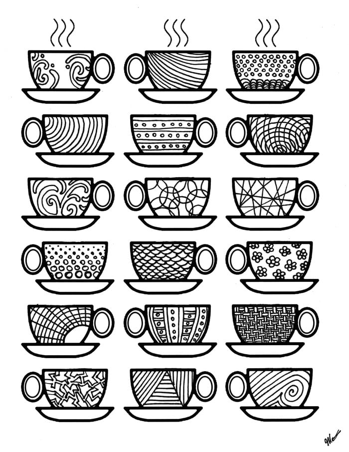 Get the coloring page: Coffee cups