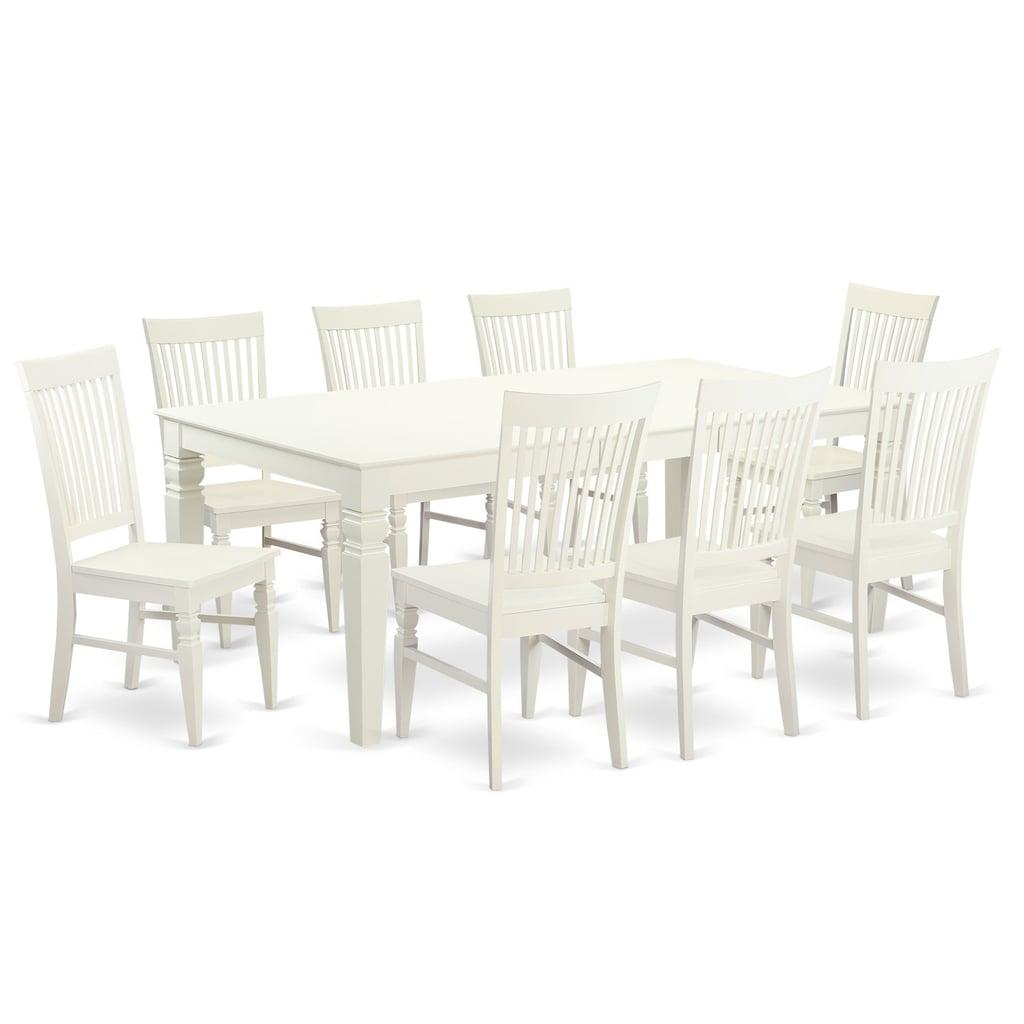 East West Furniture 9 Piece Table Set With One Logan Dining Table and 8 Dining Room Chairs in Linen