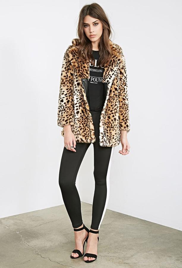 8babc5413f24 Forever 21 Leopard Faux Fur Coat ($86) | Faux Fur Jackets and Vests ...
