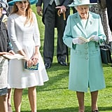 Princess Beatrice and the queen wore matching pastels to the Royal Ascot in 2015.