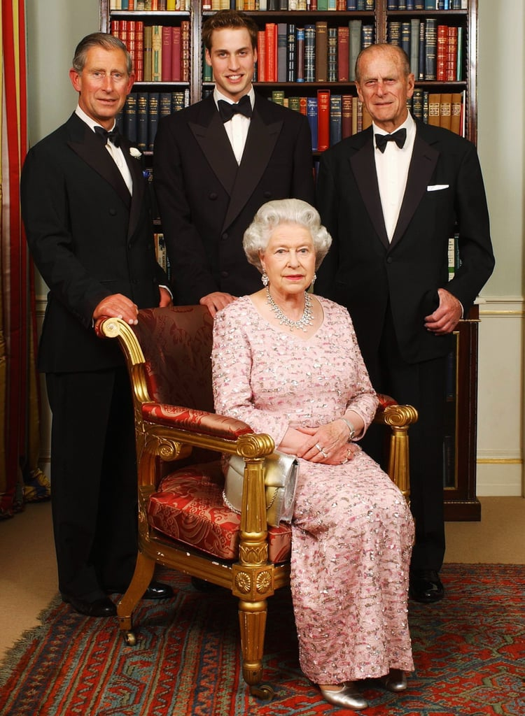 Three generations of the royal family posed on June 2, 2003, before a dinner celebrating the 50th anniversary of Queen Elizabeth II's coronation.