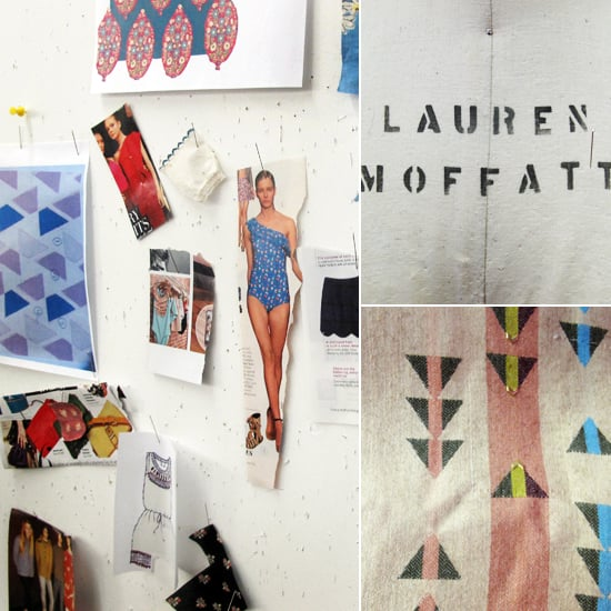 """My most recent find: a Herman Miller Eames lounge chair in the trash on my way home from work. I'm an avid trash picker!"" Moffatt explains.  Here, one of the many mood boards that line her office. At top left, the stamp on a fitting mannequin; at bottom left, fabric — adorned with tiny gold beads — from the Lauren Moffatt Fall 2011 collection."