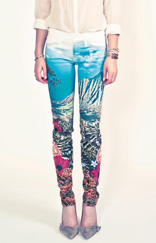 Pair these gorgeous landscape printed jeans with neutral accompaniments for a sophisticated take on bold patterns.  Mother Palm Tree Print Denim Jeans ($250)