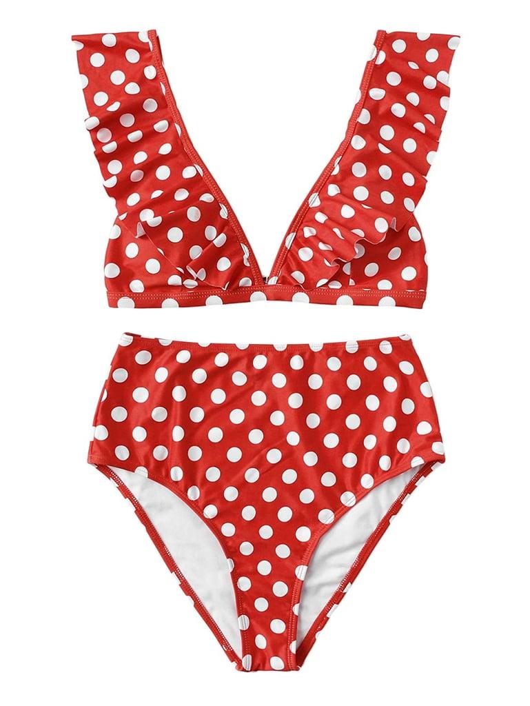 SweatyRocks Women's Bathing Suits V Neck Polka Dot Ruffled Bikini