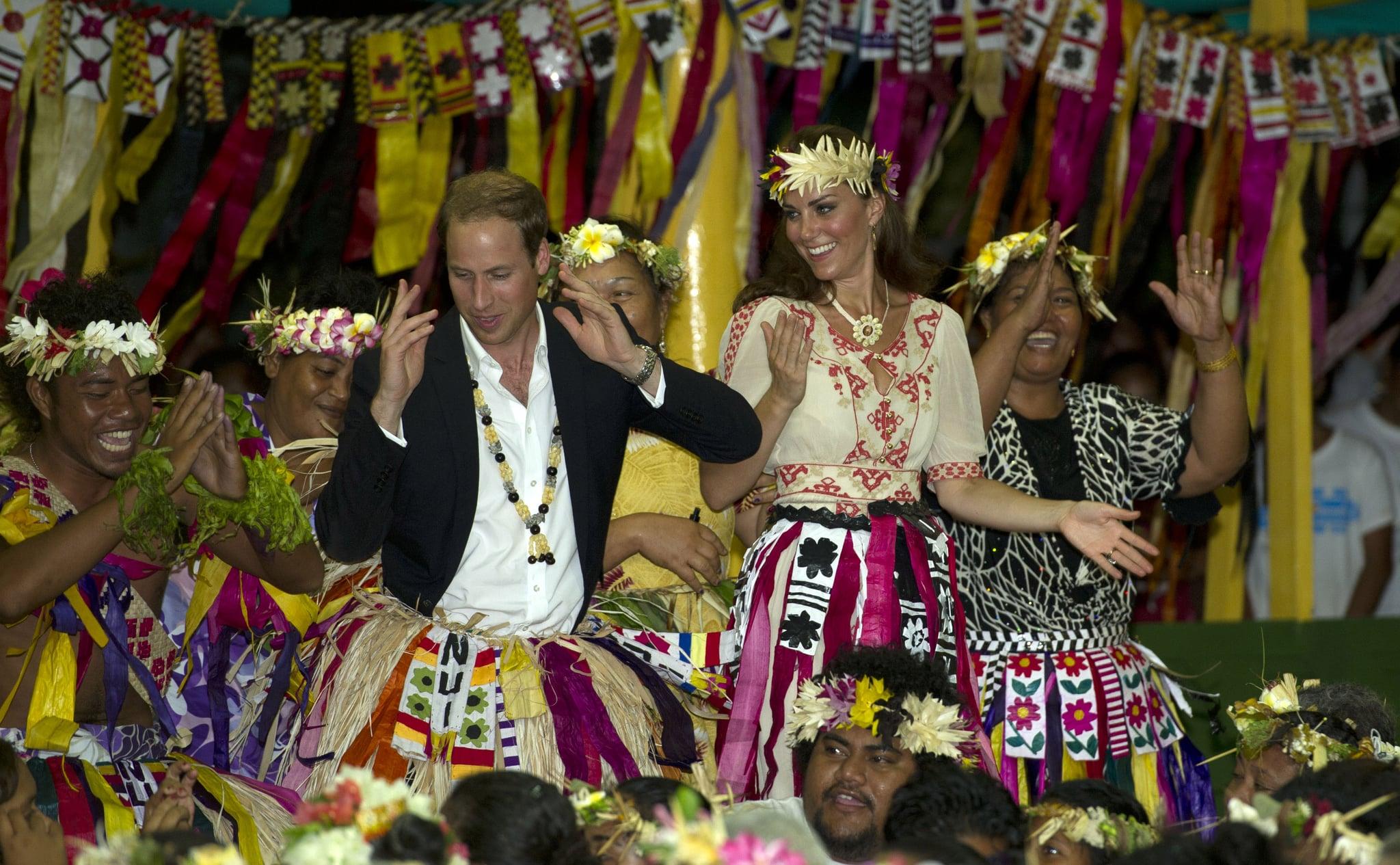 Kate Middleton smiled big at Prince William's dance moves in Tuvalu in September 2012.