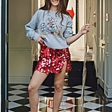 Disney Holiday Crew Neck Sweatshirt and Motel Helena Sequin Notched Mini Skirt