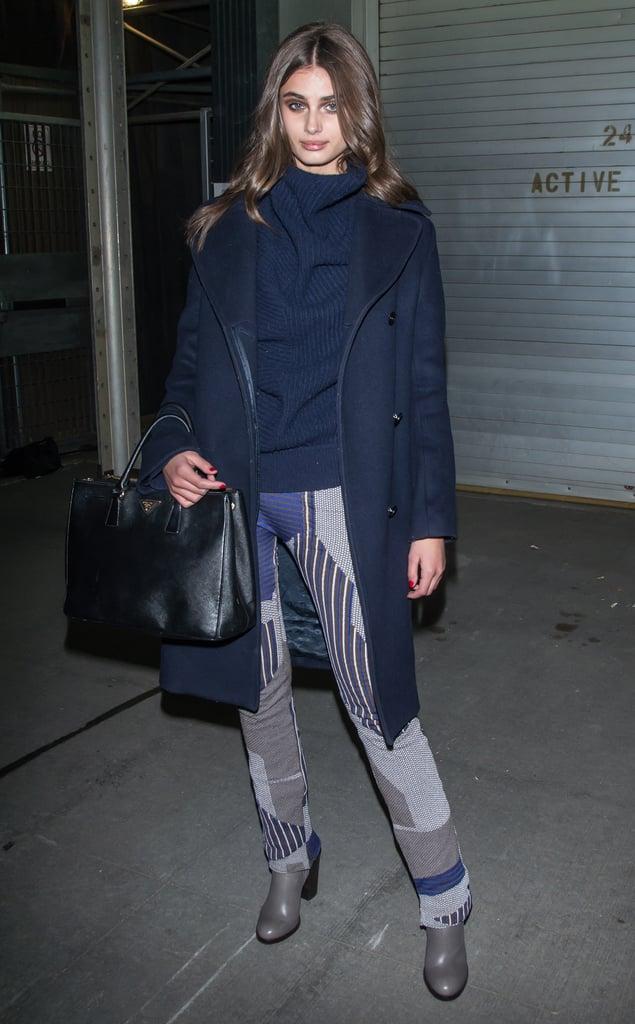05d06216fa3d Taylor Hill wearing a Prada bag. | Model Street Style at Fashion ...