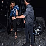 Stepping Out of the Car in an All-Black Look, Jen Made Sure Not to Forget Her Denim Jacket