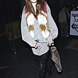 Alessandra Ambrosio out in LA showing off one of the most unique ways to wear fur at the moment. I want her entire look, including the Stella McCartney bag!