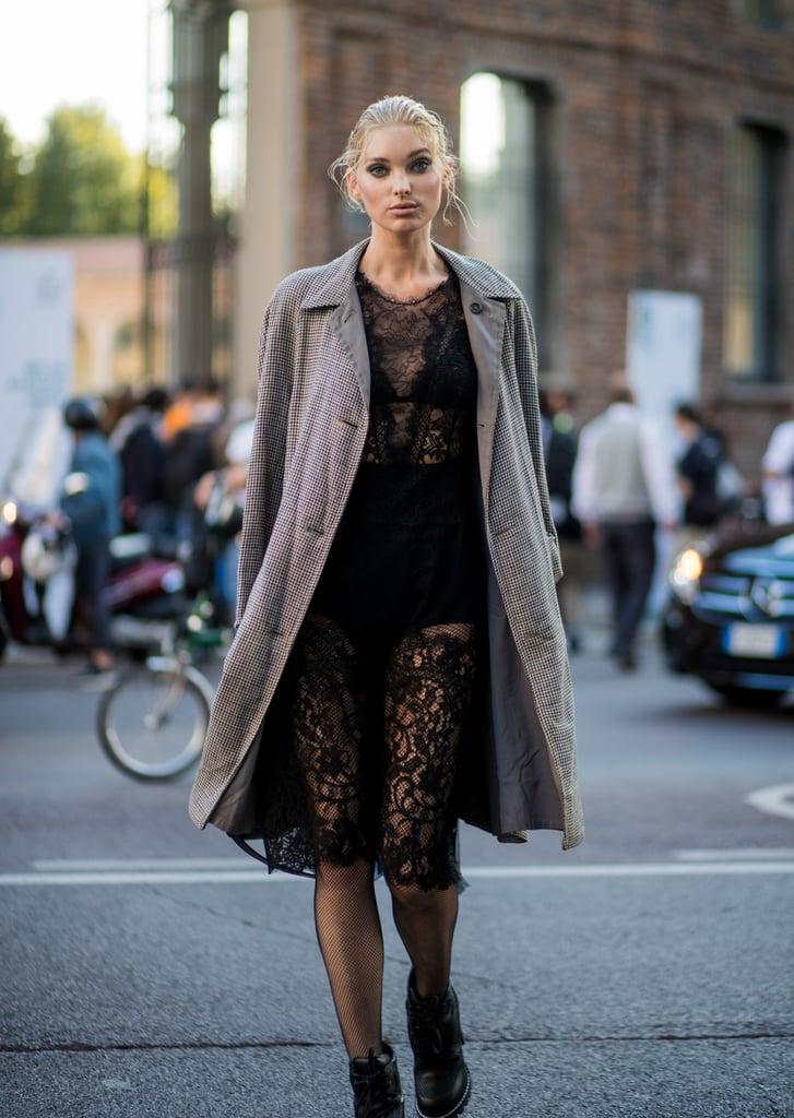 Elsa Hosk Opted For a Sheer Black Dress and Gray Coat