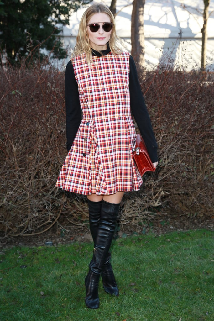 Then, Olivia Wore a Tartan Dress at Dior