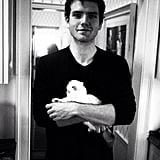 When he gently held a cute kitty.