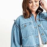 Eloquii Crop Denim Jacket with Puff Sleeves