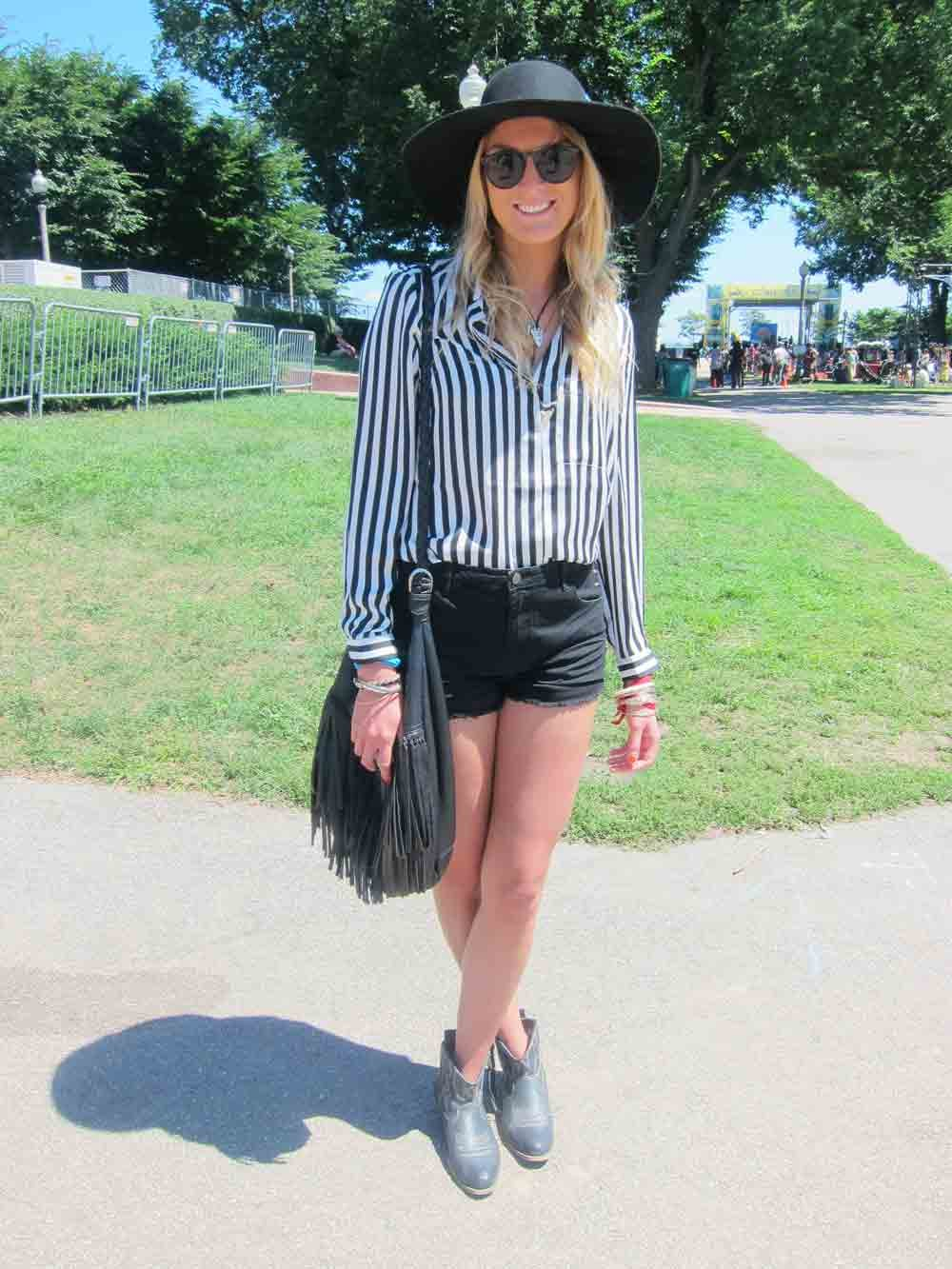 As with the rest of the world, black and white is a color combination not lost on Lollapalooza fans. Anya played up the trend with a vintage shirt, H&M shorts, and an American Apparel floppy hat.