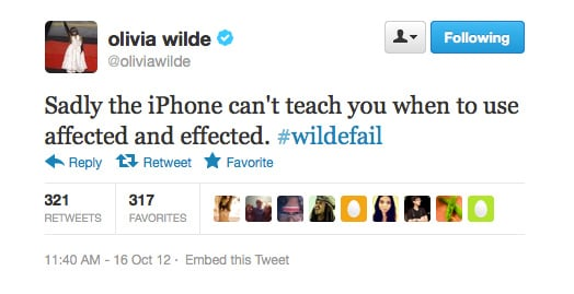 Olivia Wilde's found a major flaw with the iPhone.
