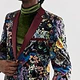 ASOS EDITION skinny blazer in purple floral patchwork velvet
